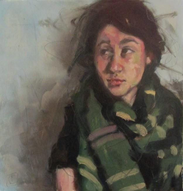Green scarf, 22 x 24cm