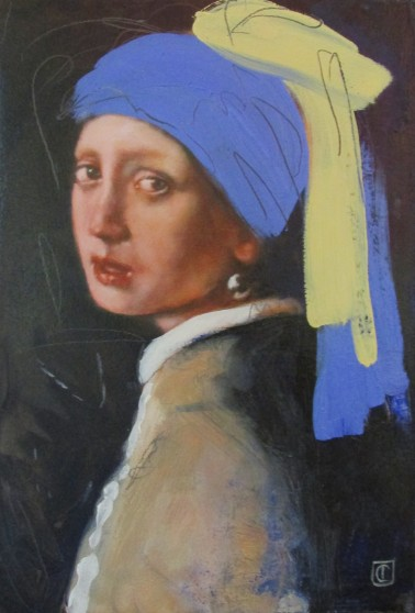 After Vermeer 'Girl with a pearl earring' (Ultramarine with ochre) 2016