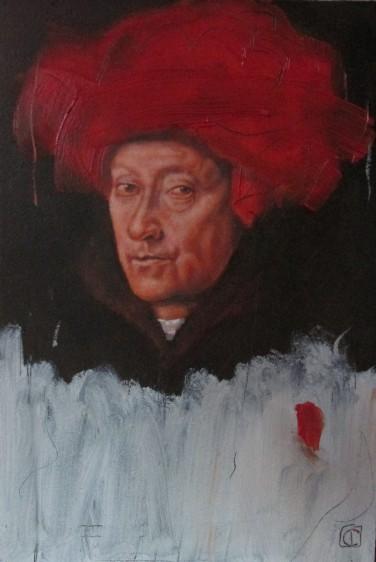 Vermilion with cadmium, jan-van-eyck portrait of a man