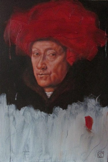 Vermilion with cadmium, jan-van-eyck portrait of a man