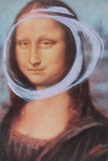 Rose madder with cobalt after Leonardo  da Vinci, Portrait of Lisa Gherardini, wife of Francesco del Giocondo (Mona Lisa)