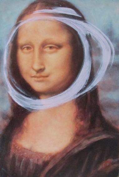 Rose madder with cobalt after Leonardo  da Vinci, Portrait of Lisa Gherardini, wife of Francesco del Giocondo (Mona Lisa)