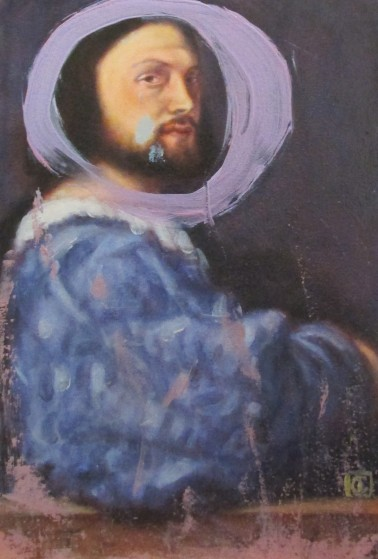 Rose madder with ultramarine after Titian, 'Portrait of Gerolamo Barbarigo'