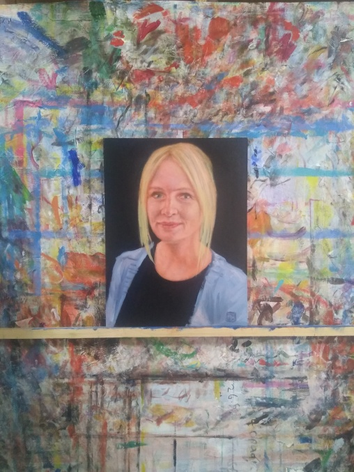 Susan Sherritt with ultramarine and titanium white - Manager, Harley gallery, Welbeck estate