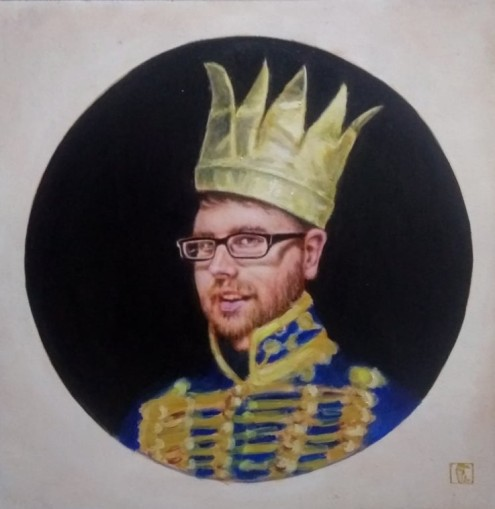 Liam as prince Albert with a paper crown , oil on board, 364mm x364mm